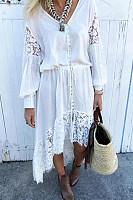 Bohemian V neck long sleeve single breasted dress