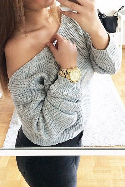 Sexy Solid Color Strapless Long-Sleeved Sweater