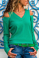 V Neck  Cutout  Plain Sweaters