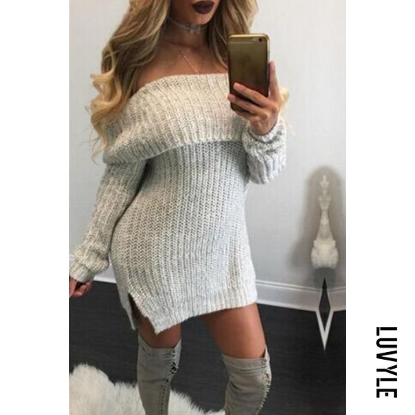 Gray Off Shoulder Side Slit Plain Sweater Casual Dresses Gray Off Shoulder Side Slit Plain Sweater Casual Dresses