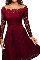 Off Shoulder  Decorative Lace  Plain  Long Sleeve Skater Dresses