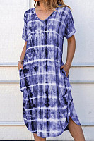 Short sleeve V-neck loose print dress