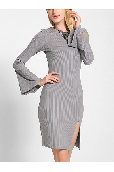 Bell Sleeve Lace-Up Plain Slit Knitted Bodycon Dress