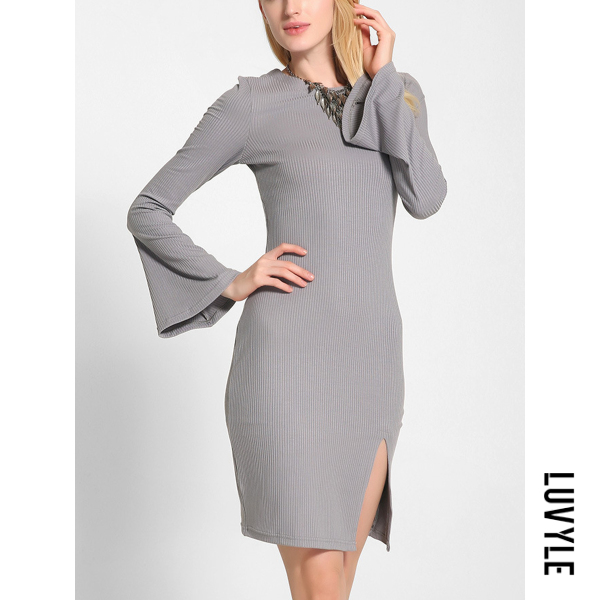 Gray Bell Sleeve Lace-Up Plain Slit Knitted Bodycon Dress Gray Bell Sleeve Lace-Up Plain Slit Knitted Bodycon Dress