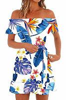 Off Shoulder  Printed  Short Sleeve Casual Dresses