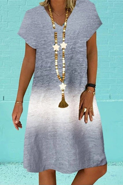 Casual Tie-dye Sleeveless Gradient Dress