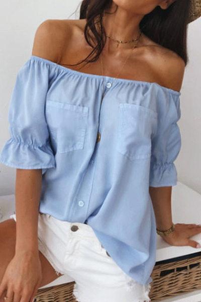 Casual Shoulder Pocket T-Shirt
