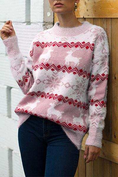 Christmas Printed Round Neck Sweater