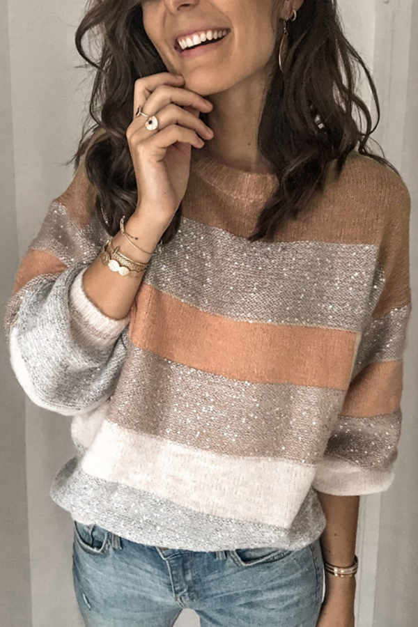 Striped sweater in gold, golden rose and silver