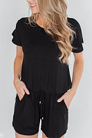 Round Neck  Short Sleeve  Playsuits
