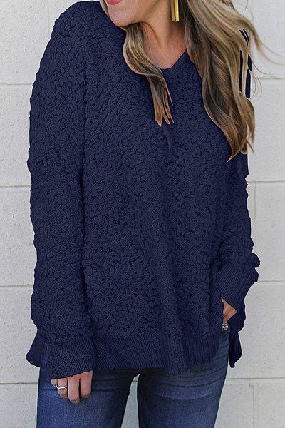 Hooded  Drawstring  Plain  Casual Sweaters