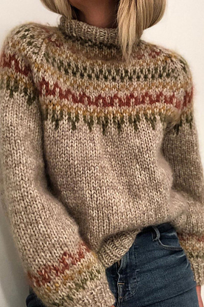 Short High Collar Colouring Sweater