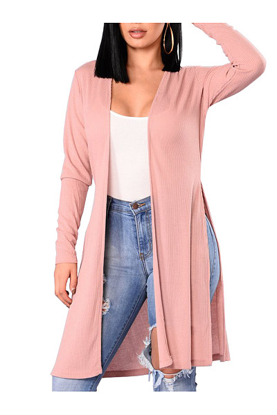 Collarless Side-Vented Plain Longline Cardigan