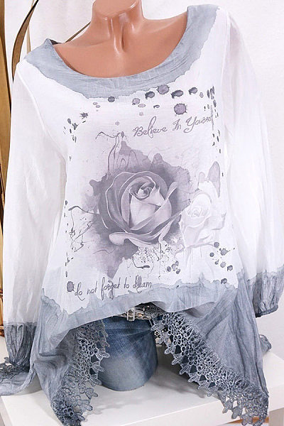 Casual Round Neck Lace Stitching Floral Print Loose Long Sleeve Shirt