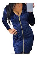 Backless  Chain  Plain  Long Sleeve Bodycon Dresses