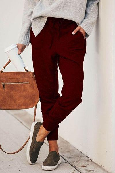 Women Plain Casual Pants