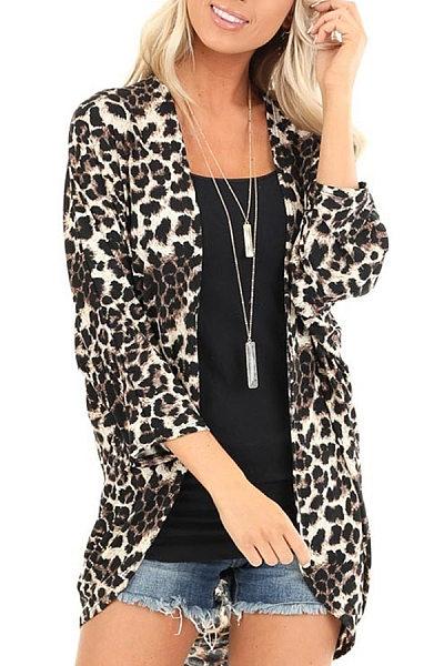 Casual Leopard Print Long Sleeve Irregular Cardigan