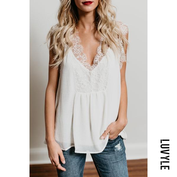 White Deep V Neck Patchwork Lace Plain T-Shirts White Deep V Neck Patchwork Lace Plain T-Shirts
