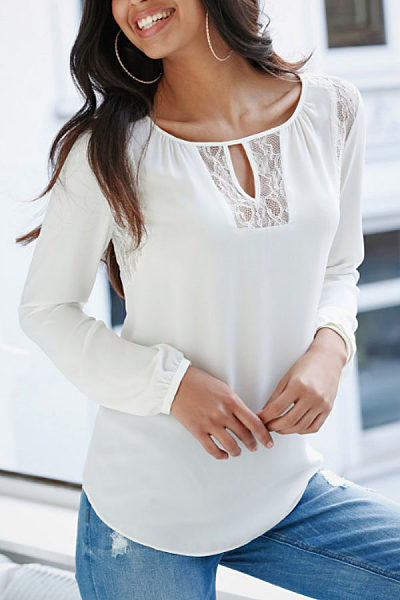 Round Neck Keyhole Hollow Out Plain Long Sleeve T-Shirt