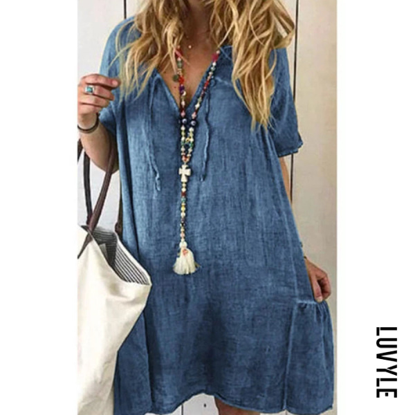 Blue V Neck Plain Short Sleeve Casual Dresses Blue V Neck Plain Short Sleeve Casual Dresses