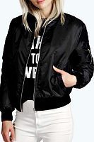 Band Collar  Patchwork Zipper Jackets