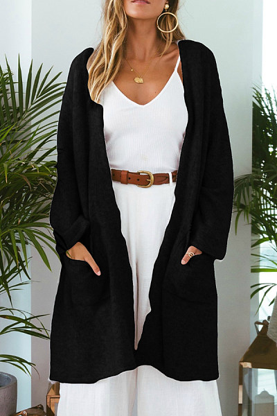 Loose Fitting  Draped Pocket  Plain Outerwear