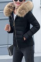 Faux Fur Collar Hooded  Zipper  Plain Outerwear