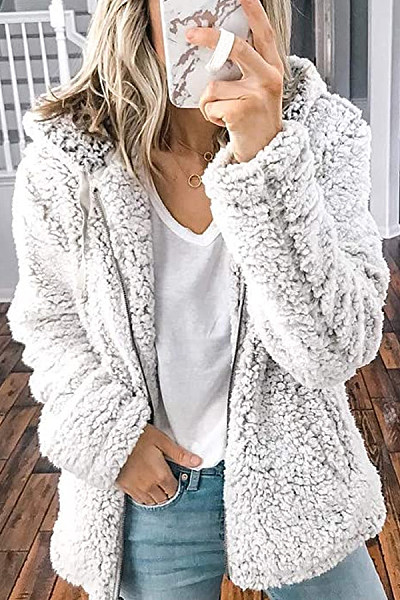 Plush zipper hooded pocket sweatshirt