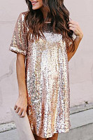 Crew Neck  Glitter  Plain  Half Sleeve Casual Dresses