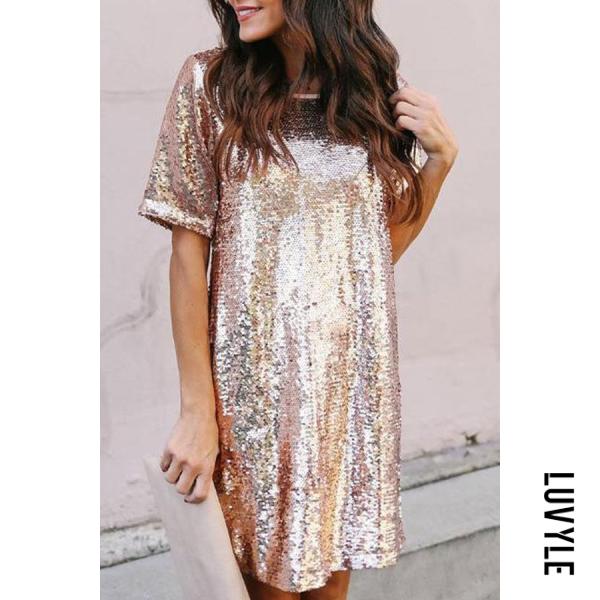 Gold Crew Neck Glitter Plain Half Sleeve Casual Dresses Gold Crew Neck Glitter Plain Half Sleeve Casual Dresses