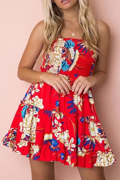 Strapless  Print  Sleeveless Skater Dresses