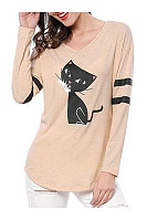 V Neck  Loose Fitting  Animal Prints Long Sleeve T-Shirts