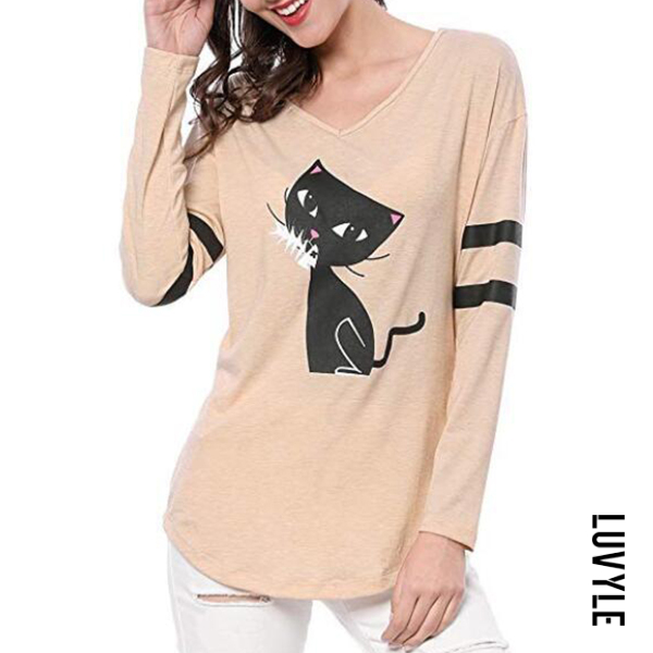 Apricot V Neck Loose Fitting Animal Prints Long Sleeve T-Shirts Apricot V Neck Loose Fitting Animal Prints Long Sleeve T-Shirts