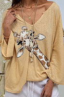 Solid Color Giraffe Printed Loose T-shirt