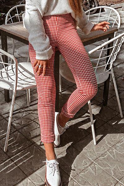 Long  Basic  Grid  Pants