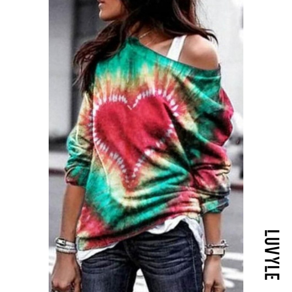 Red Tie-dye Printed Round Neck Hoody Red Tie-dye Printed Round Neck Hoody