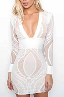 Deep V Neck  Hollow Out Bodycon Dresses