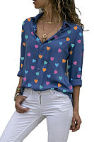 Turn Down Collar Heart  Printed Blouses