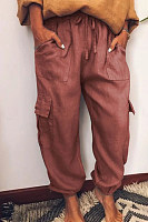 Solid color multi-pocket slacks pants