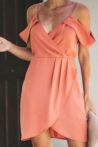 Spaghetti Strap  Asymmetric Hem  Plain Bodycon Dresses