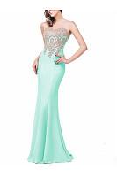 Round Neck  Decorative Lace Patchwork  Plain  Polyester Evening Dress