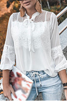 Bow Knot Hollow Out Plain Blouse