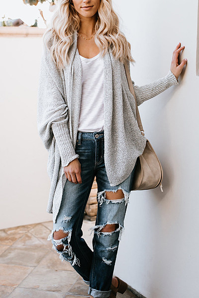 Asymmetric Hem  Plain  Casual  Cardigans