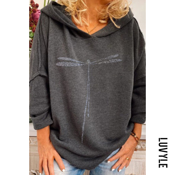 Gray Dragonfly print hoodie for lady Gray Dragonfly print hoodie for lady
