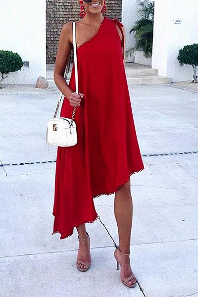 Boho Sloping Shoulder Pure Colour Asymmetrical Hem Casual Dress