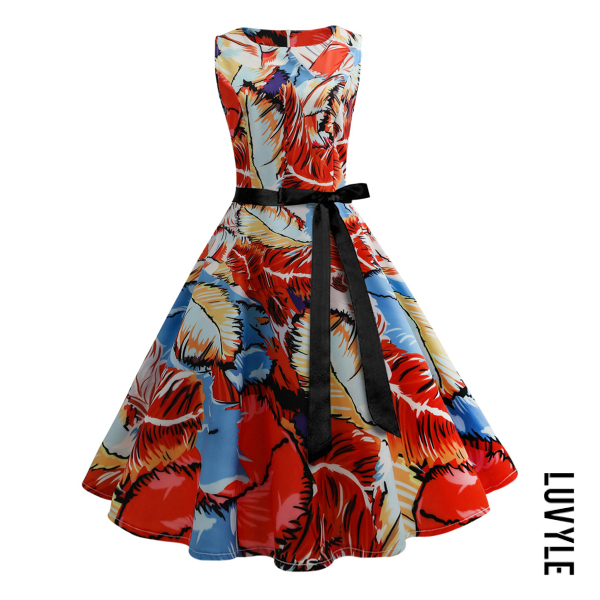 Orange Red Round Neck Multi-Color Printed Midi Skater Dress Orange Red Round Neck Multi-Color Printed Midi Skater Dress