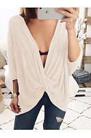 Deep V-Neck  See-Through  Plain  Batwing Sleeve Long Sleeve T-Shirts