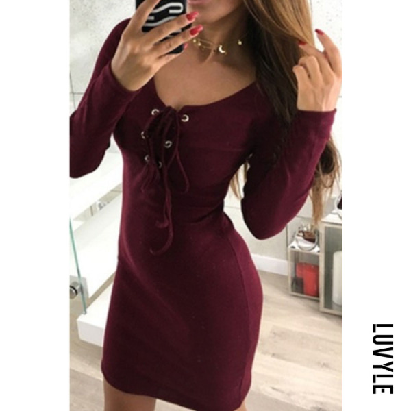 Claret Red Round Neck Lace Up Plain Long Sleeve Bodycon Dresses Claret Red Round Neck Lace Up Plain Long Sleeve Bodycon Dresses