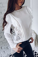 Round Neck  Flounce  Hollow Out Patchwork Plain  Blouses