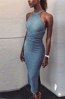 Halter  Backless  Plain  Sleeveless Bodycon Dresses